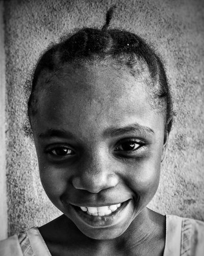 IPhoneography Smiling Childhood Portrait Happiness Cheerful Happiness♥ EyeEmNewHere Front View Headshot Child Real People Girls Human Face People Black And White Photography Blackandwhite Photography Black And White Smile ✌ African People Black&white Blackandwhite Happy :) Happy People EyeEmNewHere