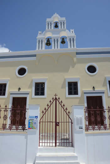 facade of a typical greek church in Santorini Architecture Built Structure Building Exterior Low Angle View No People Entrance Façade Place Of Worship Religion Railing White Color Spirituality Outdoors Window Building Church Tower Bell Fira Santorini Greece Orthodox Church Day
