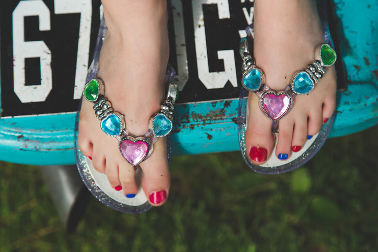 Close-up Colors Feet Flip Flops Kid Low Section Painted Toenails Person Shoes Standing Toes