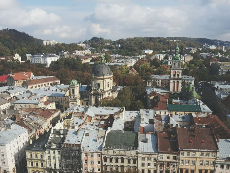 Lviv Old Buildings Cityscapes View Old Town OverviewPoint Ukraine Fall