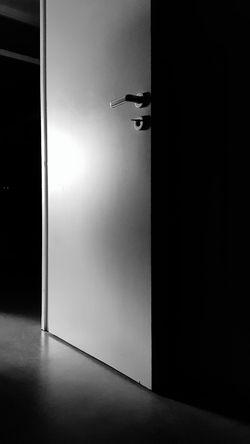 Blackandwhite Black And White Early Morning Sunlight And Shadow Light And Shadow Black & White Architecture Door Ajar Entryway Entrance Door Handle Open Door Doorway