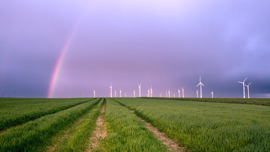 EyeEmNewHere Agriculture Alternative Energy Beauty In Nature Day Environmental Conservation Field Fuel And Power Generation Grass Industrial Windmill Landscape Nature No People Outdoors Rainbow Renewable Energy Rural Scene Scenics Sky Technology Wind Power Wind Turbine Windmill