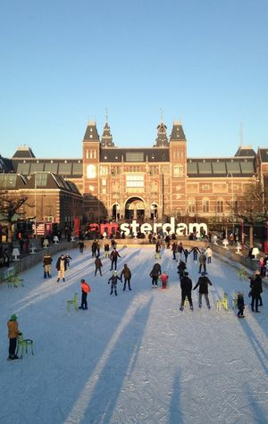 Amsterdam Building Exterior City People Rijksmuseum Museum Art Museum Cold Ice Winter City Life Iceskating Skate IPhoneography
