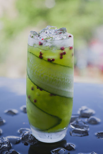 Cucumberdrink Afterwork Cocktail Cucumber Green Icecube Lifestyle Alcohol Bar Close-up Day Drink Drinking Glass Food And Drink Freshness Longdrink No People Outdoors Pepper Refreshment