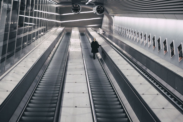 City Stairs Underground Architecture Escalator Going Up Indoors  Odenplan Public Transportation Rail Transportation Railroad Station Real People Standing Transportation Urban