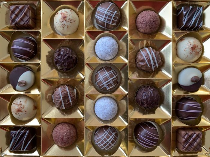 Truffles Chocolate Choice Large Group Of Objects Variation Still Life In A Row Directly Above No People Arrangement Indoors  High Angle View Full Frame Food Freshness Collection For Sale Food And Drink Abundance Container Market Order