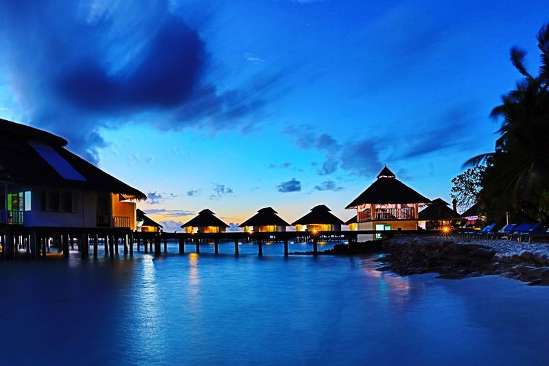 twilight Sky And Clouds Water Bungalow Colour Of Life Beautiful Summer Trip light Taking Photos Scene Eyeem