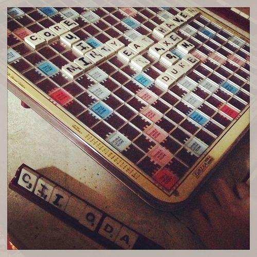 Board games with my sisters :)) Scrable Boardgames Wordgames Braingamea xD sabogutak