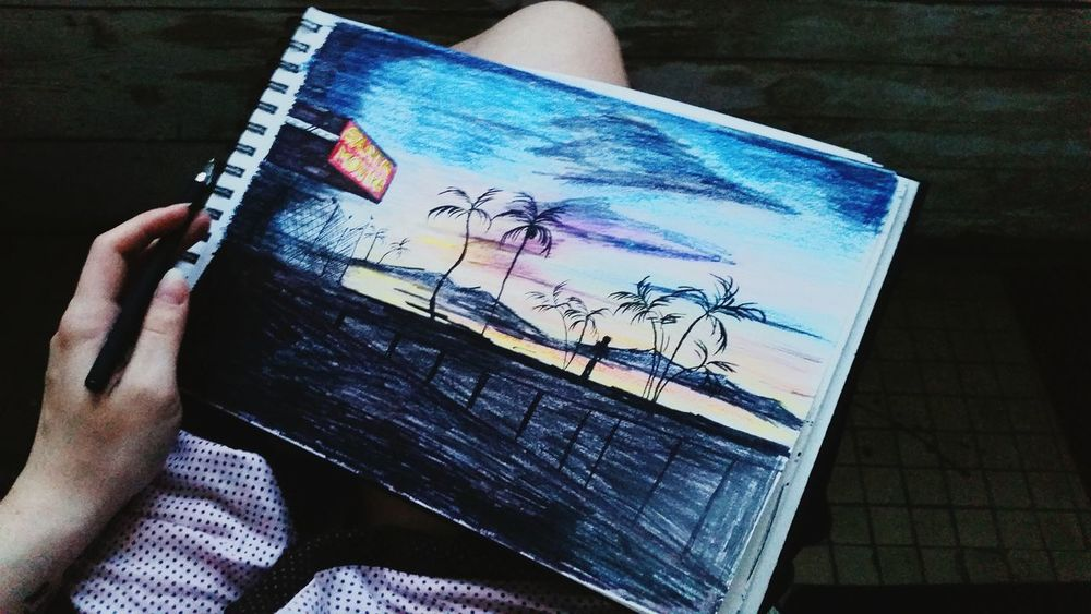Sunset Drawing Sketchbook Sketching хочунаморе Santamonica рисую