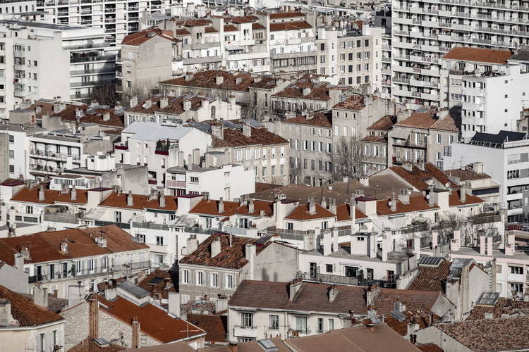 Aerial view of Marseille, France, from Notre-Dame de la Garde France France Marseille Mediterranean  Architecture Building Exterior Built Structure City Cityscape Crowded Day Europe Full Frame Outdoors People Residential Building Roof