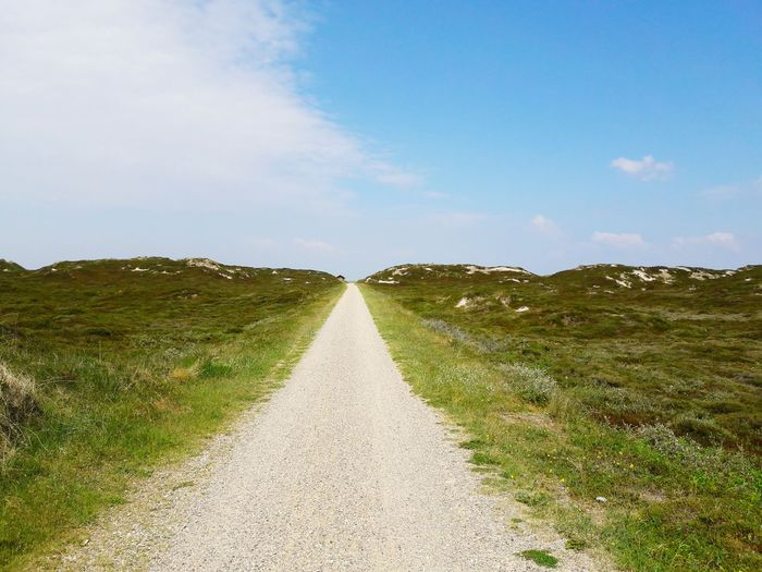 Dirt road amidst grassy field against sky on sunny day