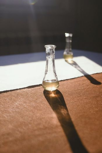 Close-up of bottles on table