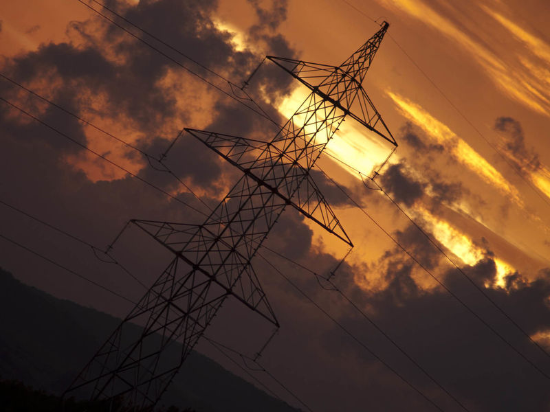 Sunset Silhouettes Sunset Electric Tower  Red Sky