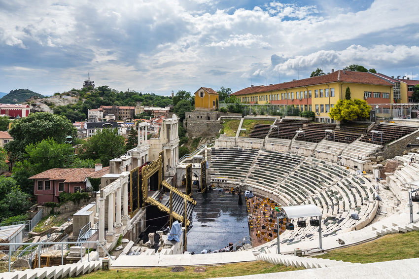 Ruins of ancient roman theatre, Plovdiv, Bulgaria Eastern Europe Plovdiv, Bulgaria Architecture Balkans Building Exterior Built Structure Bulgaria City Cloud - Sky Day High Angle View Large Group Of People Outdoors People Roman Theatre Sky Town Travel Destinations Tree