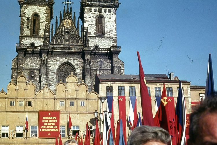 Old Town Square September 1964 Prague Praha Czechoslovakia nowadays Czech Republic Nikita Kruschchev speaking Communist Era Tyn Church Flags