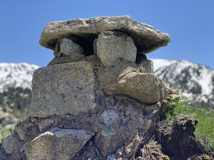 Close-up of stack of rock against sky