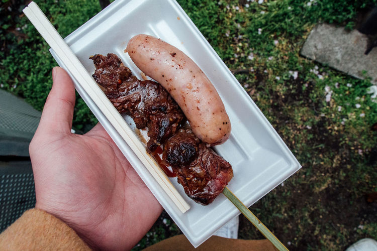 Cropped Hand Holding Sausage In Bowl