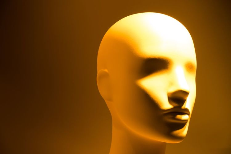 Brain Copy Space Human Head Futuristic Intelligence Ai Puppet Dummy Technology Human Representation No People Indoors  Close-up Representation Art And Craft Copy Space Studio Shot Gold Colored Female Likeness Sculpture Male Likeness Yellow Orange Color Creativity Single Object Craft