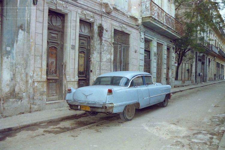 Vintage car on building