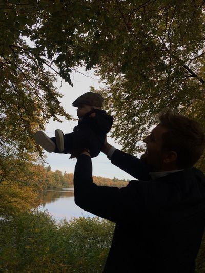 Nature Baby Babyboy One Adult Man Colorful Tree Lake View Lake