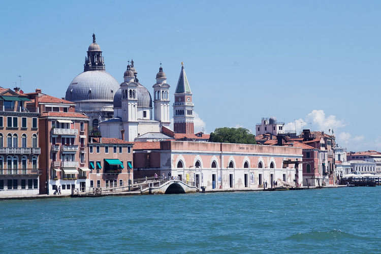 Architecture Blue Cathedral Church City City Life Clear Sky Dome Famous Place International Landmark Lagoon Old Town Place Of Worship Spirituality Tourism Travel Destinations Venice Venice Waterfron Water Waterfront