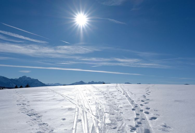 Winter Cold Temperature Sky Scenics - Nature White Color Sunlight Lens Flare Snowcapped Mountain Bright Powder Snow Landscape Sun