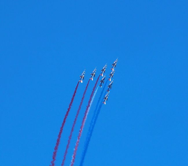 Blue Sky Airplane Flying Airshow