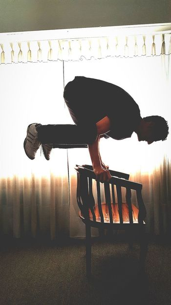 One Man Only One Person Only Men Men Indoors  Day Human Hand Acrobatic Chair Force Equilibrium