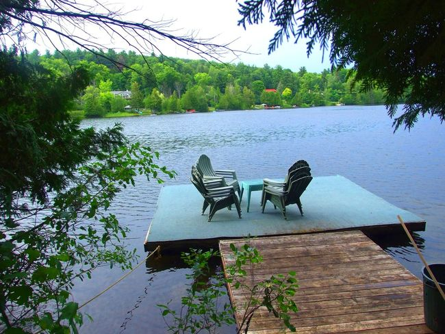 Dock and dock chairs at the cottage Beauty In Nature Cottage Cottage In The Woods Cottage Life Cottage Life, Cottage View Day Dock Dock Dock Chairs Dock In The Water Growth Lake Lakeside Lakesideview Nature No People Outdoors Plant Scenics Sky Tranquil Scene Tranquility Tree Water