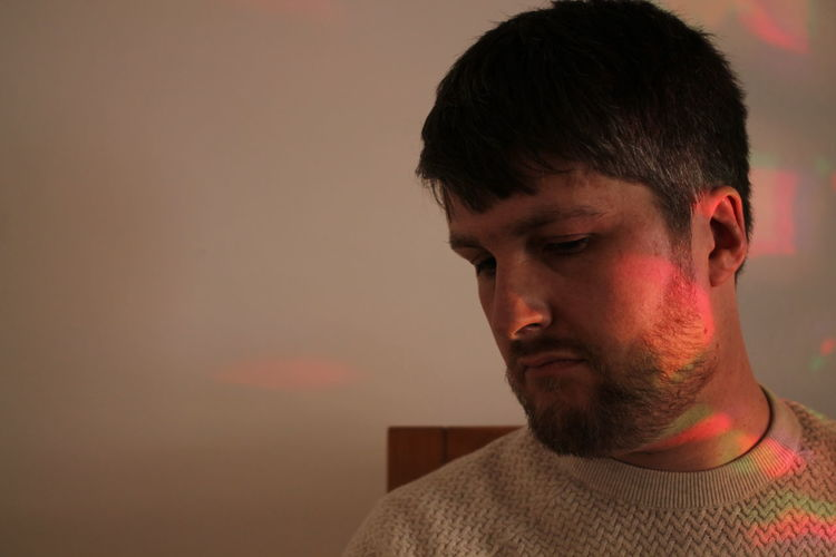 Selfie Scotland Selfie Lights Coloured Lights Colorful Coloured Light Colored Light Portrait Headshot Men Close-up Disappointment Sadness Uncomfortable Hopelessness