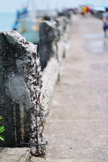 Pier Harbor Outdoors Water Close-up Brokenconcrete Errosion Broken Structure Path To The Beach Concrete Texture