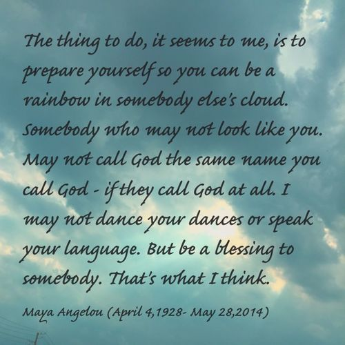 Maya Angelou ; born Marguerite Annie Johnson, was an American author, poet, dancer, actress, and singer. She published seven autobiographies, three books of essays, and several books of poetry, and was credited with a list of plays, movies, and television shows spanning over 50 years. She received dozens of awards and more than 50 honorary degrees. Angelou is best known for her series of seven autobiographies, which focus on her childhood and early adult experiences. The first, I Know Why the Caged Bird Sings (1969), tells of her life up to the age of 17 and brought her international recognition and acclaim. (Source: Wikipedia. Viewed 60715. http://en.m.wikipedia.org/wiki/Maya_Angelou) Positive Message Words Of Wisdom... Message From A Stranger My Cloud Obsession☁️ Skyporn Clouds Sunburst