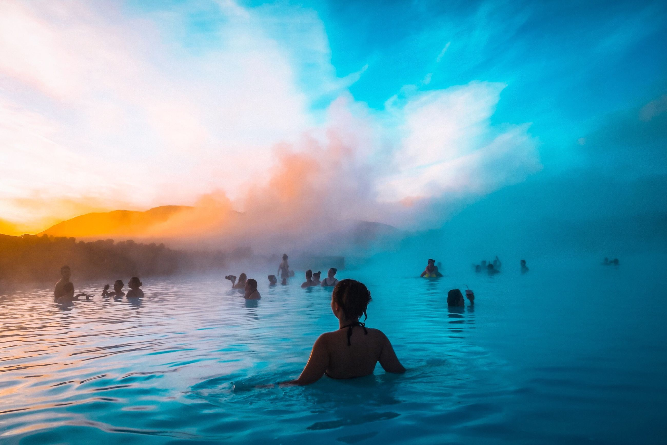 water, real people, lifestyles, cloud - sky, group of people, waterfront, leisure activity, vacations, swimming, holiday, trip, beauty in nature, nature, people, sky, enjoyment, hot spring, women, swimming pool, outdoors