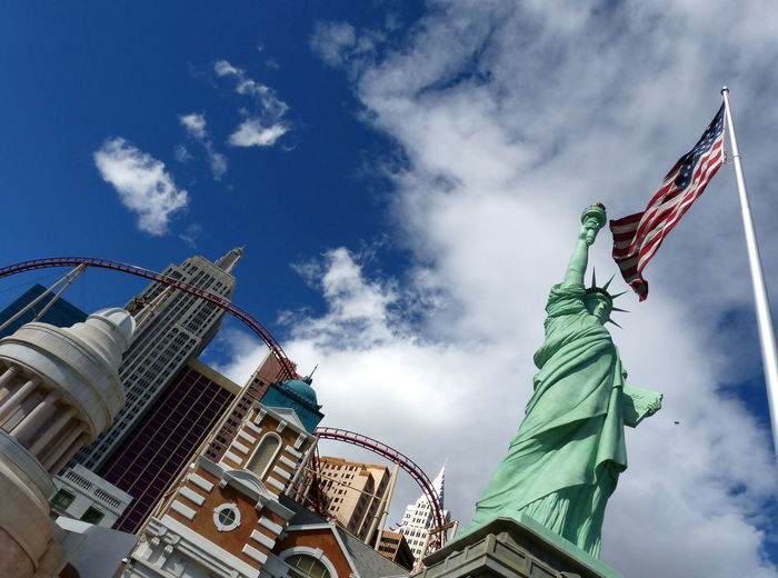 American Flag Architecture Building Exterior Built Structure Casino Cloud - Sky Day Famous Place Fun Gambling Lady Liberty Las Vegas Lookingup Low Angle View New York New York Old Glory Roller Coaster Sky Travel Photography