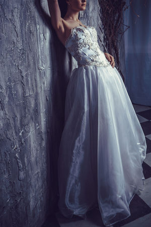 Adult Bride Day Indoors  One Person People Real People Standing Wedding Wedding Dress Women Young Adult Young Women
