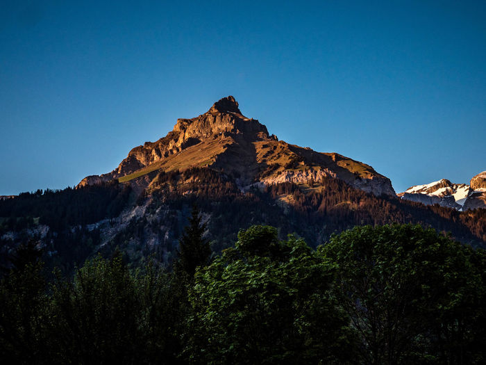 mountain peak at sunset covered in orange light Beauty In Nature Blue Clear Sky Copy Space Environment Formation Low Angle View Mountain Mountain Peak Mountain Range Nature No People Non-urban Scene Outdoors Plant Rock Rock - Object Rock Formation Scenics - Nature Sky Sunset Tranquil Scene Tranquility Tree The Traveler - 2018 EyeEm Awards