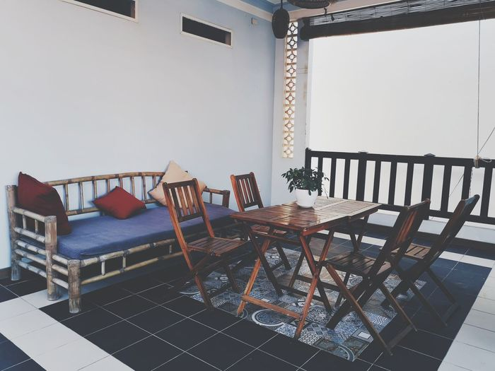 Vietnamese style home decoration Table Home Asian  ASIA Hoi An Vietnam Tourism Chair Railing Architecture Balcony Residential Structure