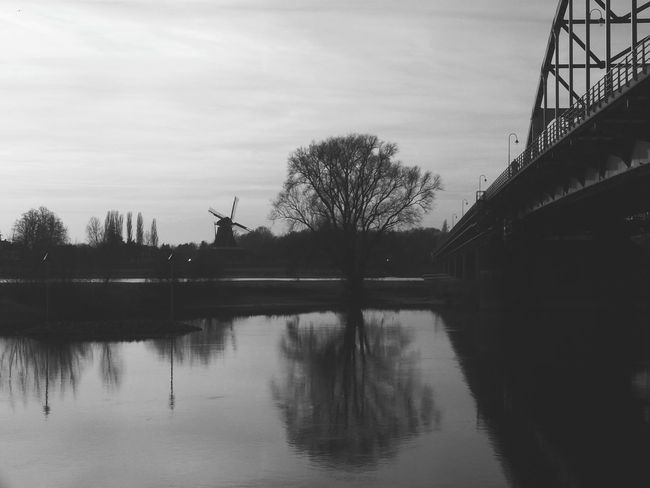Reflection Windmill Bridge EyeEm Gallery EyeEmNewHere EyeEm Best Shots My Point Of View Week Of Eyeem Mypointofview Week On Eyeem The Week Of Eyeem EyeEm Blackandwhitephoto Blackandwhite Photography Blackandwhite Landscape Outdoors
