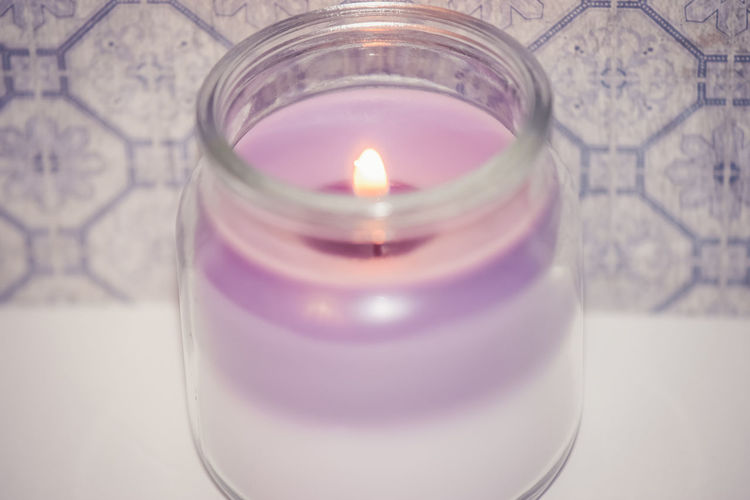 Bright Pastel Burning Candle Flame Glowing Illuminated Layered Layers Lit Lit Candle Macro Pastel Purple Shades Of Purple