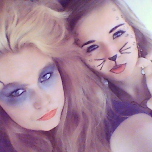 Me frankenstines wife brooke a cheeta! We look hot lol Cheeta Frankenstine Wife Happyhalloween Loves Bestfriend
