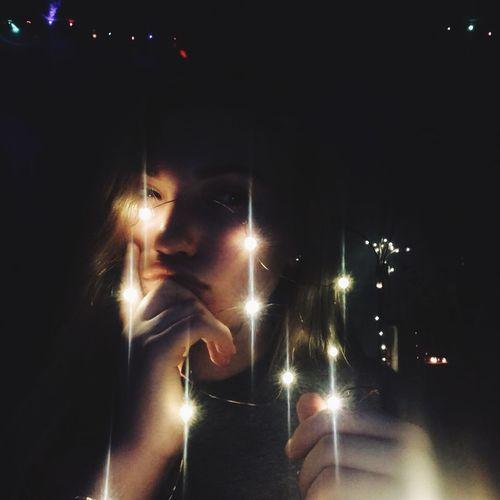 elipsis 💬... Night Illuminated One Person Young Adult Portrait Lighting Equipment Headshot