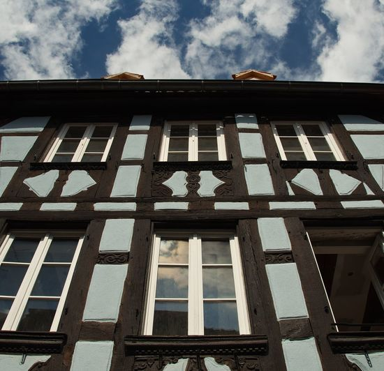 Strasbourg, France Strasbourg France Lookingup Sky And Clouds Clouds Blue Sky Timbered House Architecture Historic Building Building House Medieval Medieval Architecture Timbered Blue Colorful Vivid Urban City Picturesque Wall Window Façade Reflection