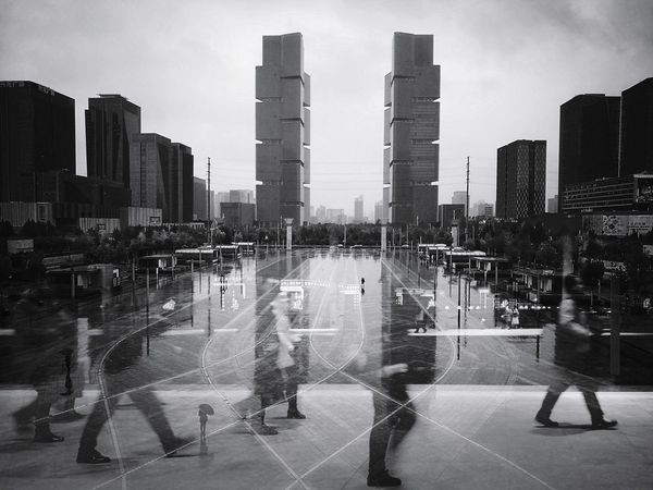 Architecture Skyscraper City City Life Outdoors Cityscape Urban Skyline Modern Mirror Image Railroad Station Platform Public Transportation Mirror Effect Silhouette Light And Shadow Double Exposure Black And White Journey Reflection On The Road Futuristic Multiple Image Shadow Transportation Travel City