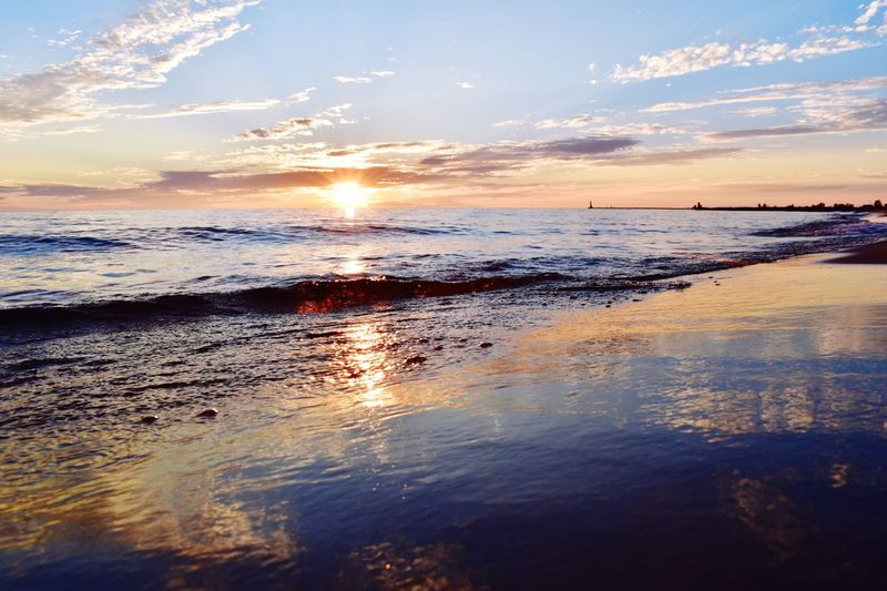 Capture The Moment Lakeshore Lake Michigan Sunset Sea Water Scenics Beauty In Nature Sky Reflection Nature Sun Tranquility Tranquil Scene Beach Sunlight Horizon Over Water No People Wave Outdoors Cloud - Sky Day