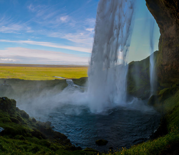Beautiful Iceland Nature Rear View Blue Blue Sky Glacier Seljandfoss Water Waterfall