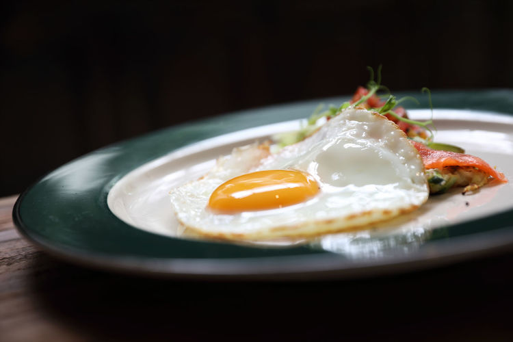 Black Background Breakfast Close-up Egg Egg Yolk Food Food And Drink Freshness Fried Fried Egg Healthy Eating Indoors  Meal No People Plate Ready-to-eat Still Life Sunny Side Up Table Wellbeing
