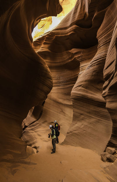 Antelope Adventure Antelope Canyon USA Arid Climate Beauty In Nature Cave Day Full Length Geology Landscape Nature One Person Outdoors People Physical Geography Real People Rock - Object Rock Formation Scenics Travel Destinations