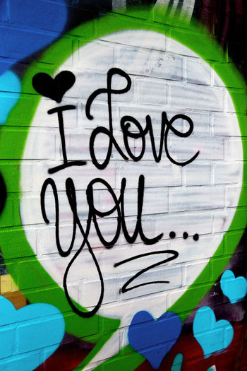 Graffiti Creativity Art And Craft Text Communication Western Script No People Close-up Wall - Building Feature Representation Day Multi Colored Human Representation Indoors  Street Art Pattern Message Black Color White Color I Love You Love Statement Hearts Brick Wall Positive Emotion Positive In Love I Love You ❤ Love Relationship Fullframe Text Words Of Love
