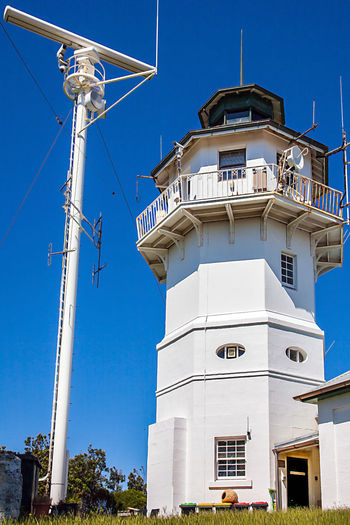 Australia Lighthouse New South Wales  Port Jackson Satellite Antenna; Sydney, Australia Antenna Architecture Blue Building Exterior Built Structure Clear Sky Day Low Angle View No People Outdoors Port Radar Station Sky Watson Bay