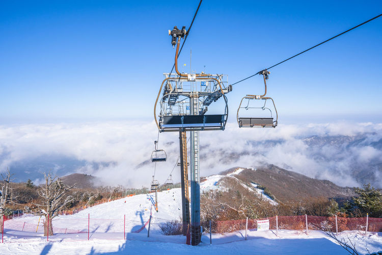 Winter of Deogyusan mountain at Muju Ski Resort in South Korea. Snow Cold Temperature Winter Sky Mountain Nature Cable Car Ski Lift Scenics - Nature Day Beauty In Nature Mountain Range Environment Landscape No People Field Land Tree Plant Outdoors Snowcapped Mountain Ski Resort